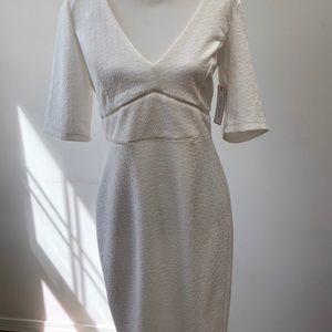 NWT SZ 14 White, deep V-neck dress by Bisou Bisou.